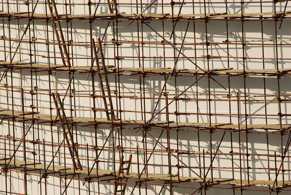 Scaffolding, Ladder, Building, Shadow