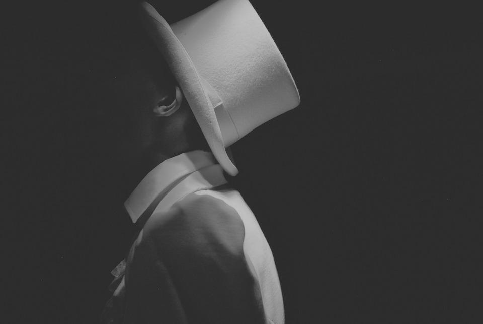 Black White, Portrait, Hat, Grey, Shadow