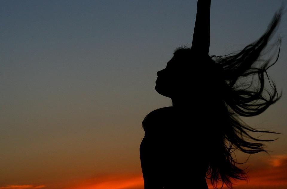 Sunset, Girl, Shadow, Silhouette, Long Hair, Wind