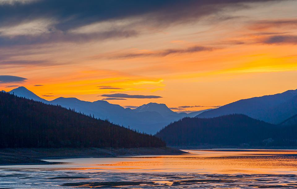 Sunset, Mountains, Lake, Silhouette, Shadow, Water