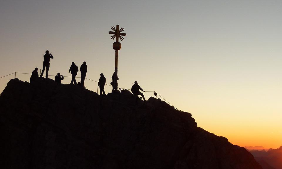 Zugspitze, Mountaineer, Sunrise, Shadow Play, Climber