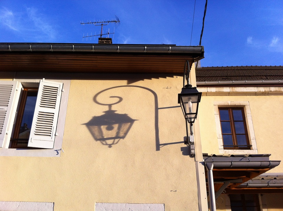 Lantern, Shadow, Street, Sun
