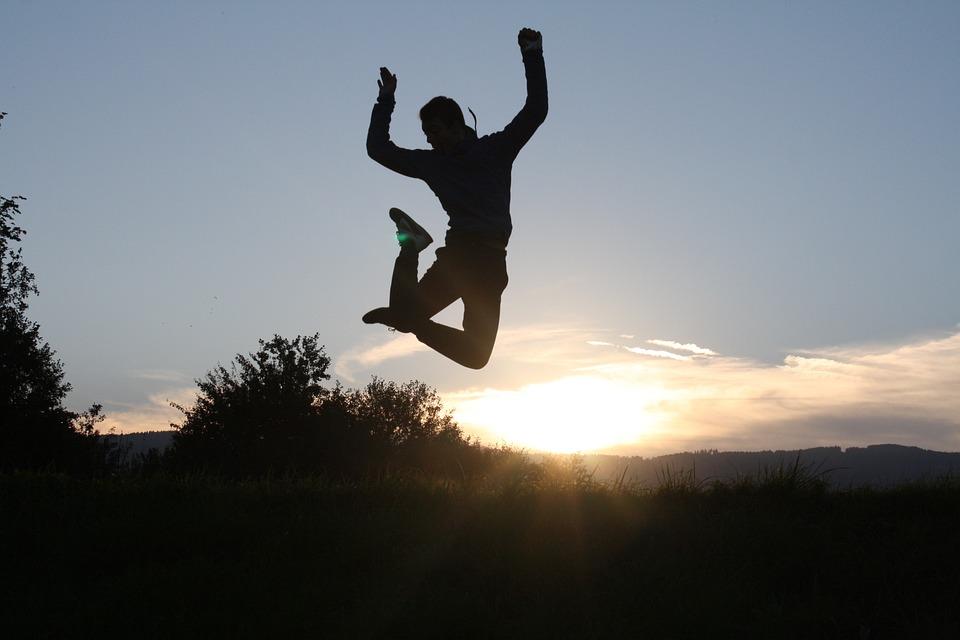 Sunset, Jump, Fun, Joy, Shadow