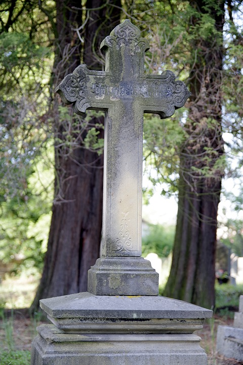 Tombstone, Cross, Cemetery, Old, Tree, Shadow, Stone