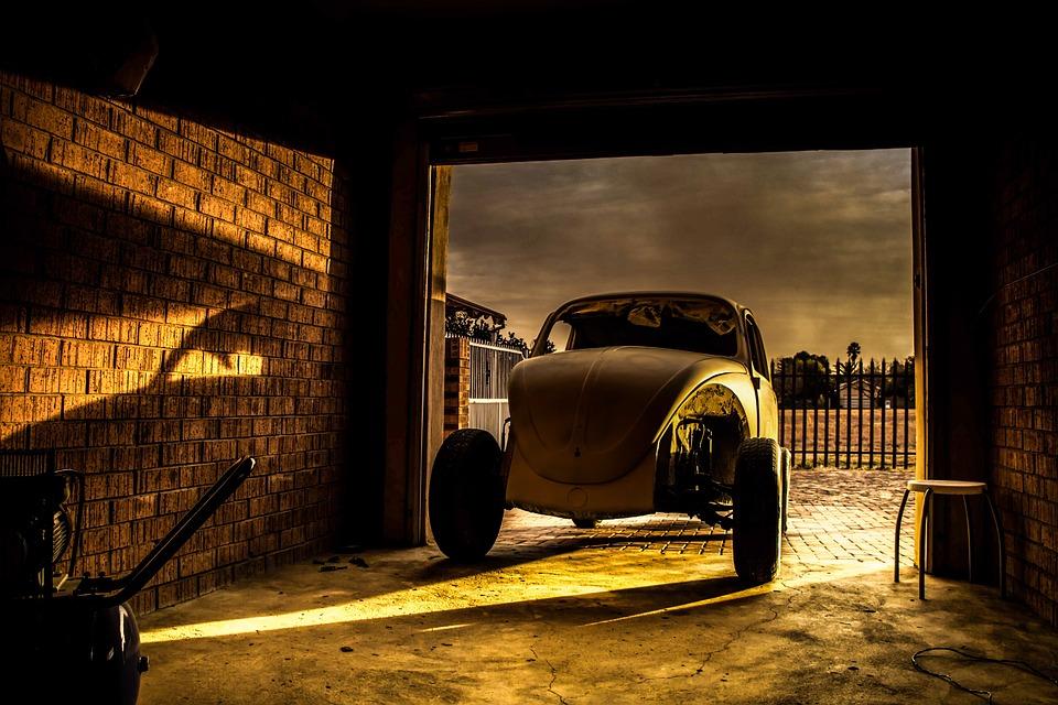 Beetle, Broken, Car, Light, Shadow, Sunset, Vintage