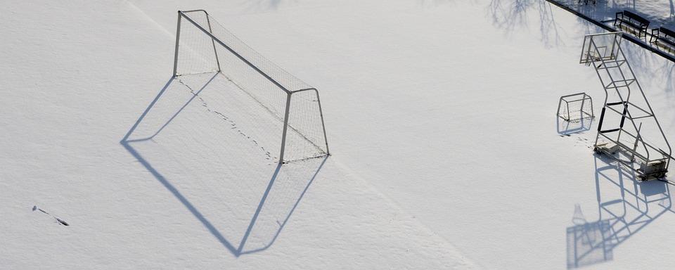 School, Winter, Playground, Snow, Shadow