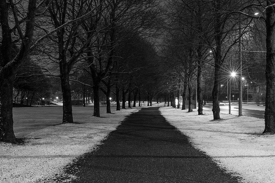 Road, Night, Dark, Lighting, Snow, Winter, Shadows