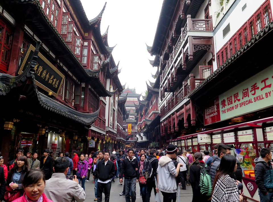 Shanghai, Historic Center, Renmin Road, Crowd, Building