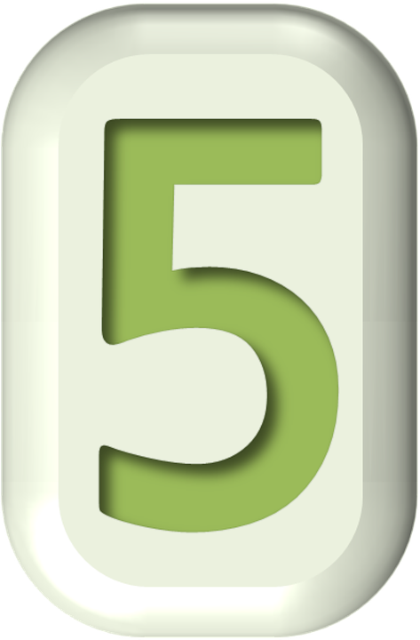 Numbers, Button, Shape, Shapes, Rounded Rectangle, Five