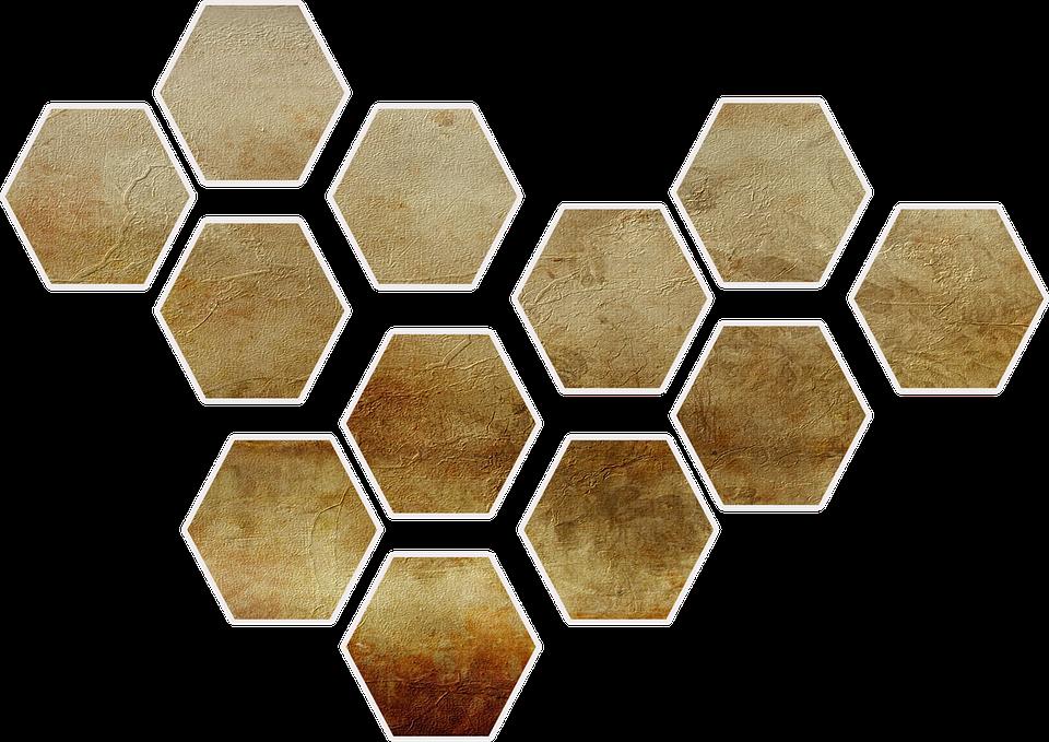 Shape, Honeycomb, Gold, Paper, Scrap, Scrapbooking