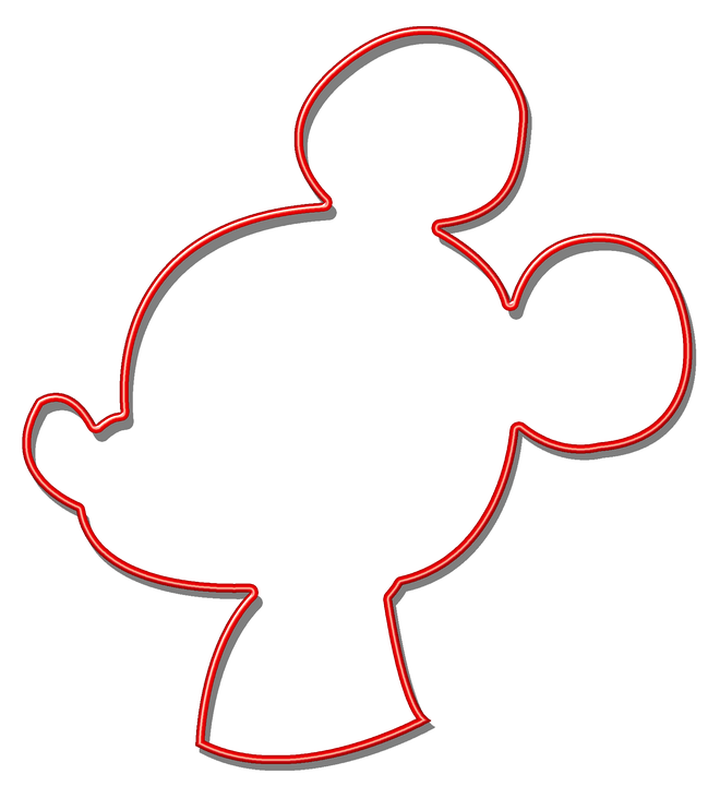 Mouse, Red, Silhouette, Shape, Shadow, Disney