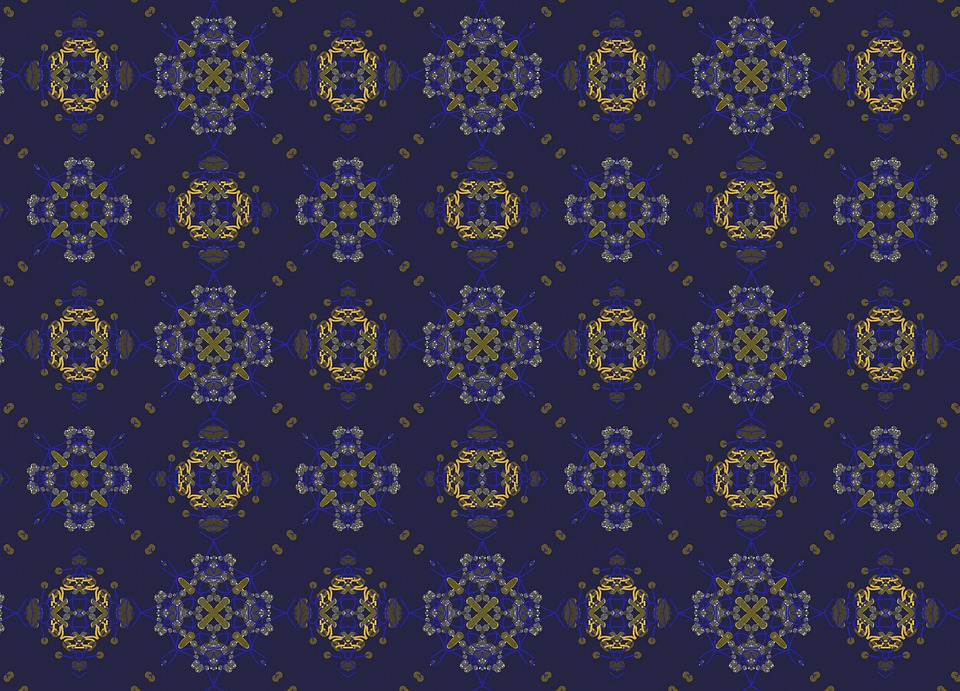 Blue Pattern, Gold, Geometric, Shapes, Shiny, Sparkling