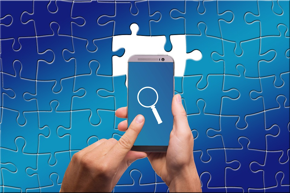 Puzzle, Share, Search, Smartphone, Magnifying Glass