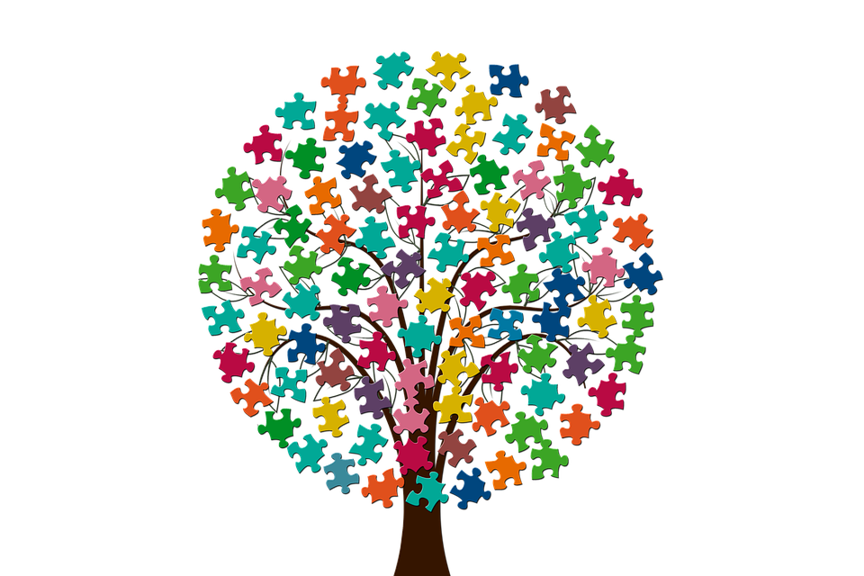 Tree, Share, Pieces Of The Puzzle, Silhouette, Together