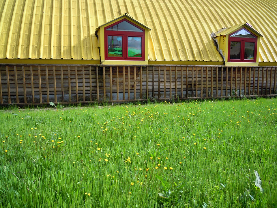 Barn, Shack, Shed, Cottage, Roof, Green, Grass, Lawn