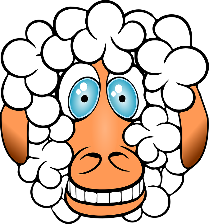 Sheep, Crazy, Grinning, Funny, Comical, Cartoon, Animal