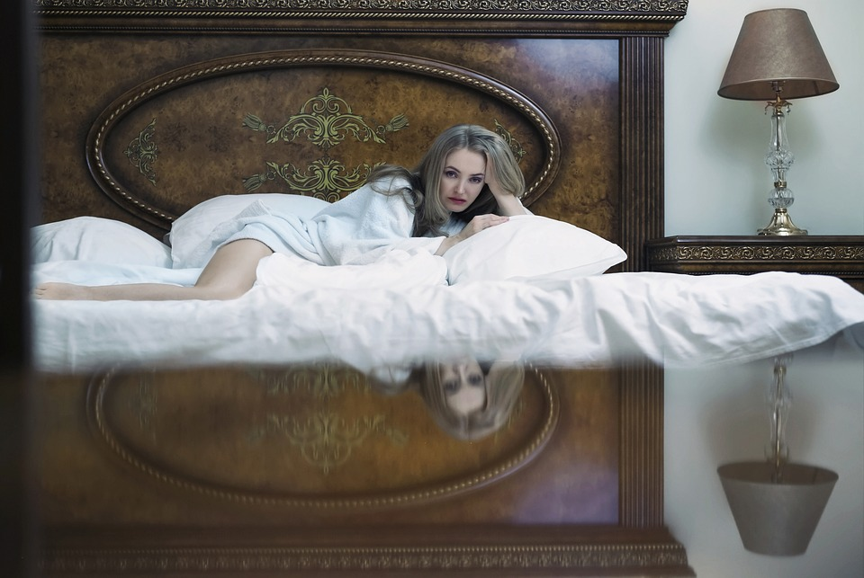 Girl, Bedroom, Sconce, Bed, Mirror, Blonde, Robe, Sheet