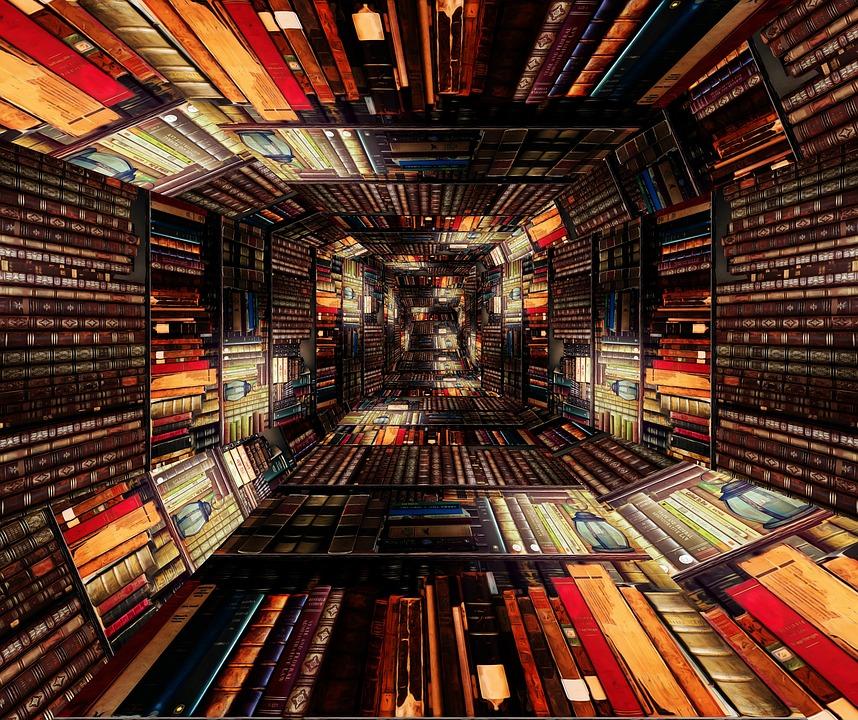 Library, Tunnel, Books, Stacks, Shelves, Scene, Reading