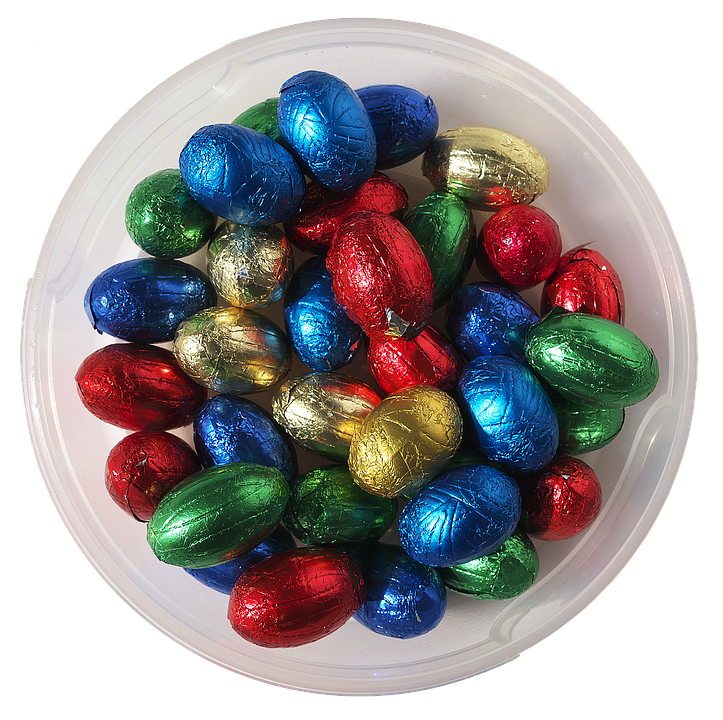 Easter Nest, Colorful Eggs, Chocolate, Candy, Shiny