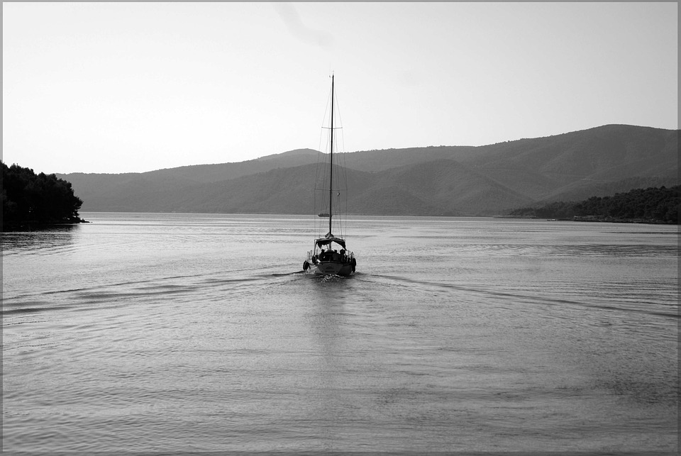 Sailing, Bay, Black White, Ship