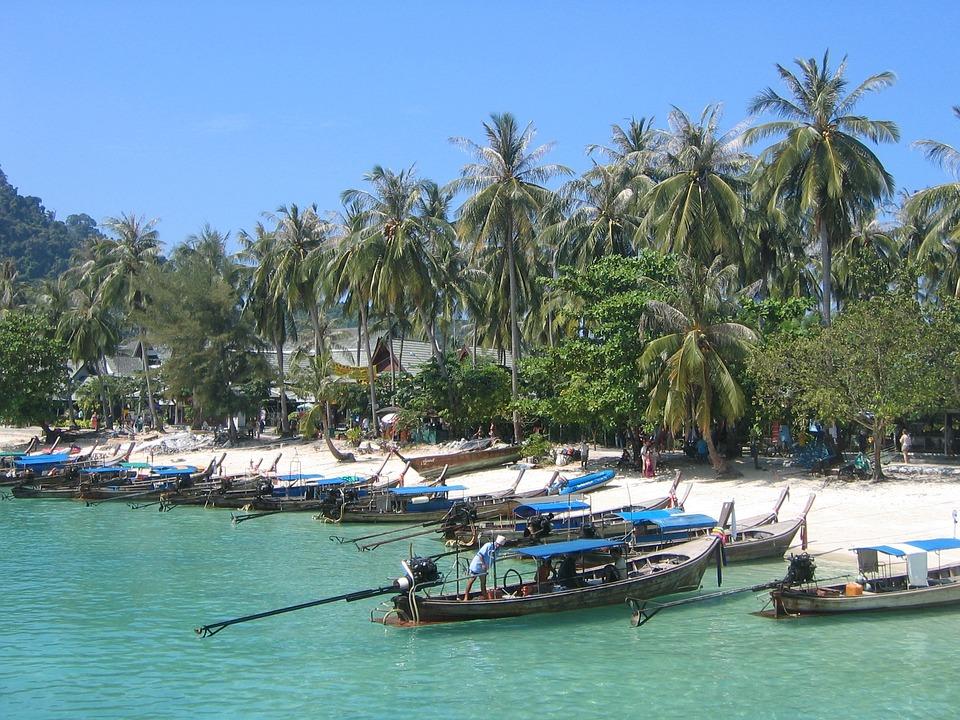 Thailand, Sea, Trees, Sun, Heat, Ship, Beach, Asia