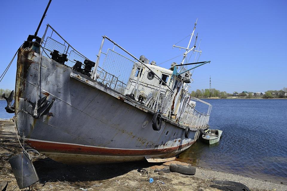 Boat, Ship, Water, Sea, Graveyard Of Ships, Abandoned