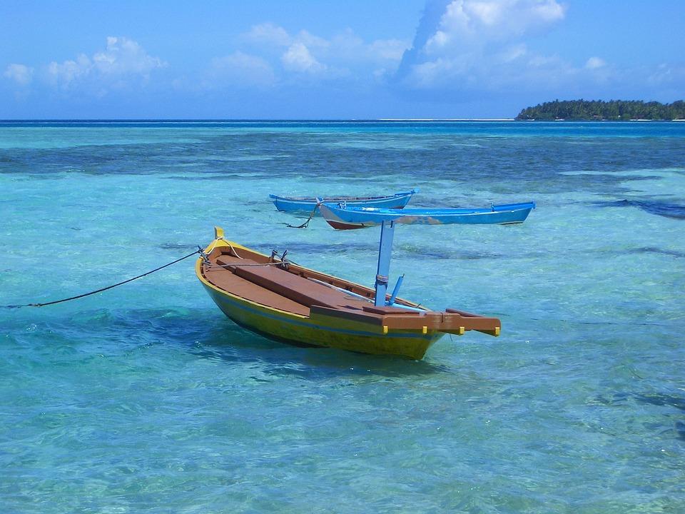 Ship, Paradise, Blue Sea, Clouds, Clear Skies
