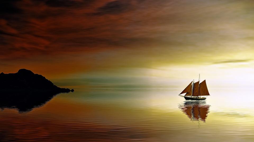 Sunset, Dawn, Waters, Dusk, Evening, Ship
