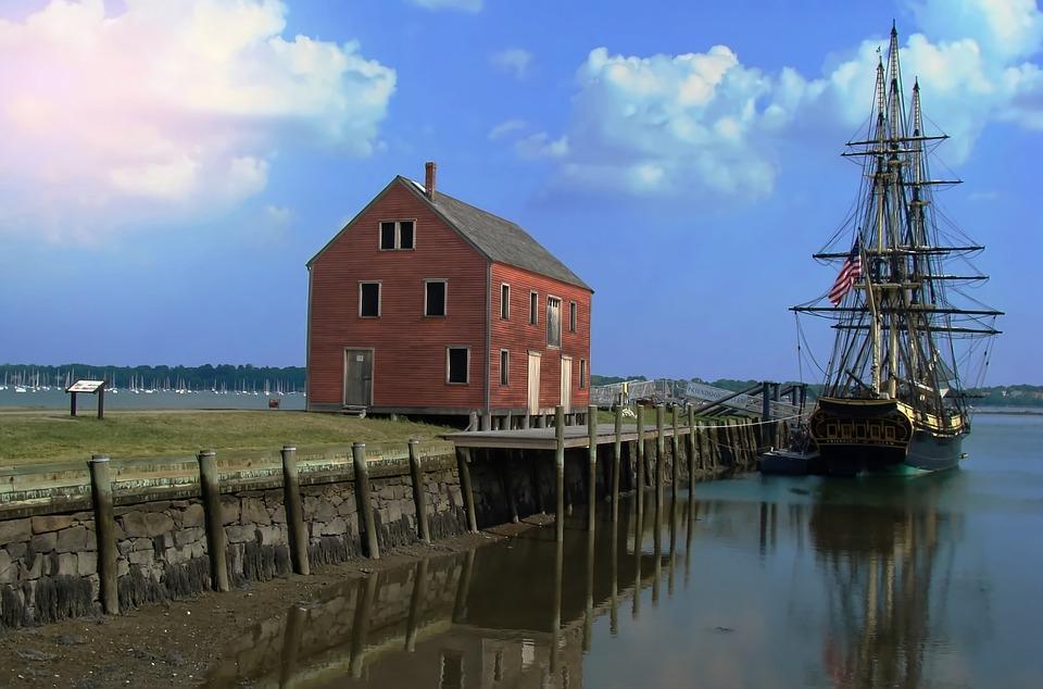 Harbor, New England, Sea, Sailboat, Ship, Coast