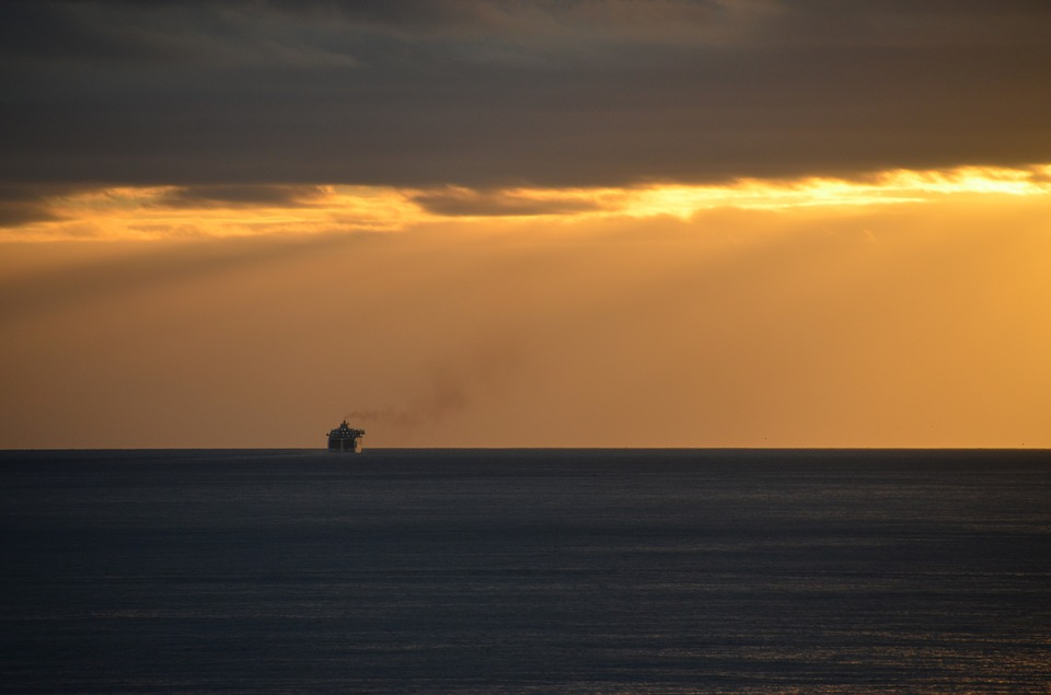 Sunrise, Sea, Ship, Morgenstimmung, Morgenrot, Nature