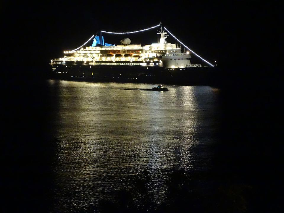 Ship, Cruise, Night, Vacations, Sea