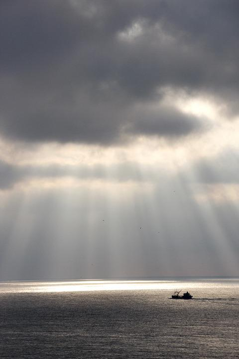 Ship, North Sea, Fishing, Netherlands, Clouds, Sun, Sea