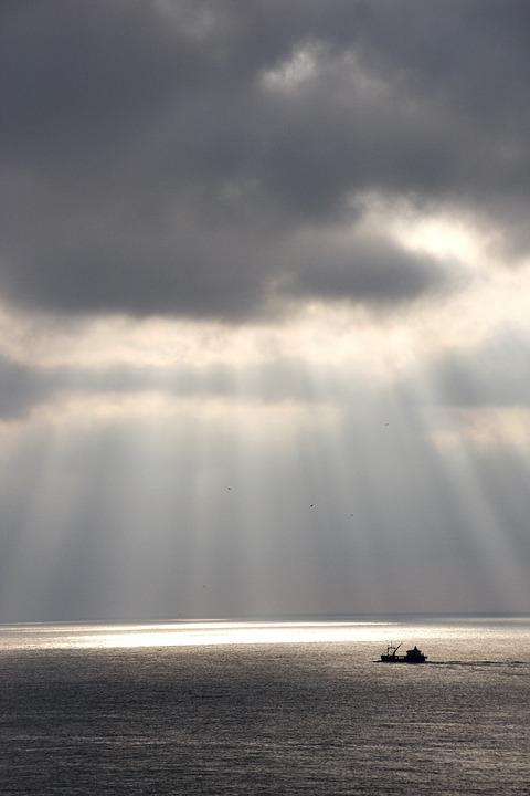 Ship, North Sea, Fishing, Netherlands, Clouds, Sun, Sea