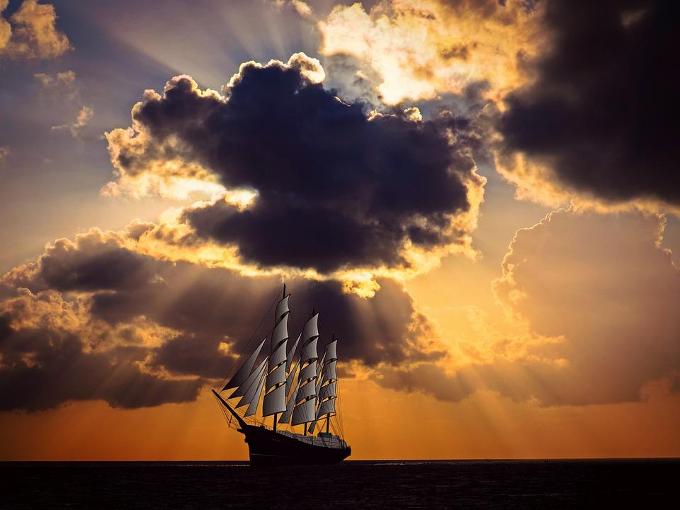 Sailing Vessel, Ship, Sail, Sea, Ocean, Shipping, Sky