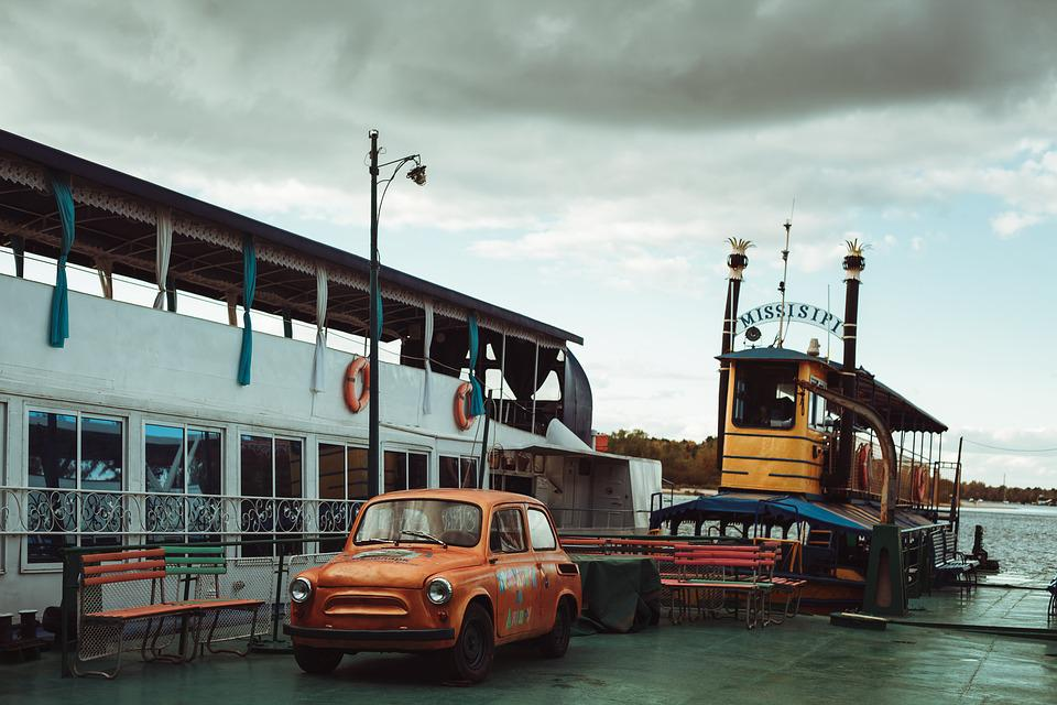 Pier, Water, Bay, Marina, Shipping, Load, Ship, Retro