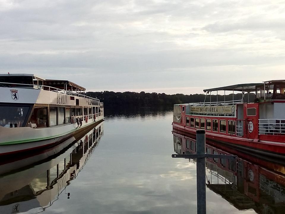 Ship, Lake, Evening, Port, Berlin, Tegel