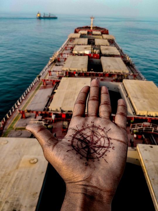 Compass, True North, Ship, Sea, Sea Life, Sailor
