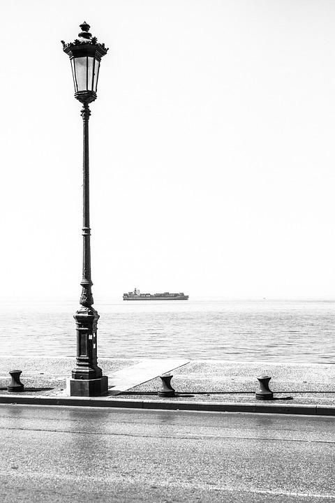 Sea, Lantern, Promenade, Road, Water, Ship