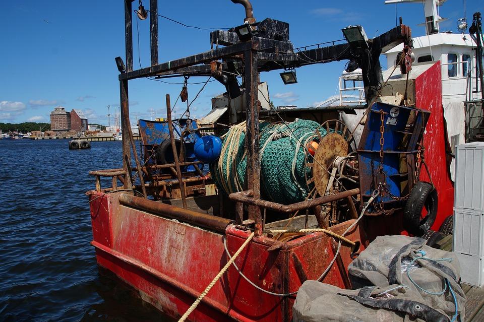 Fishing, Ship, Port, Boat, Network, Moored, Stern