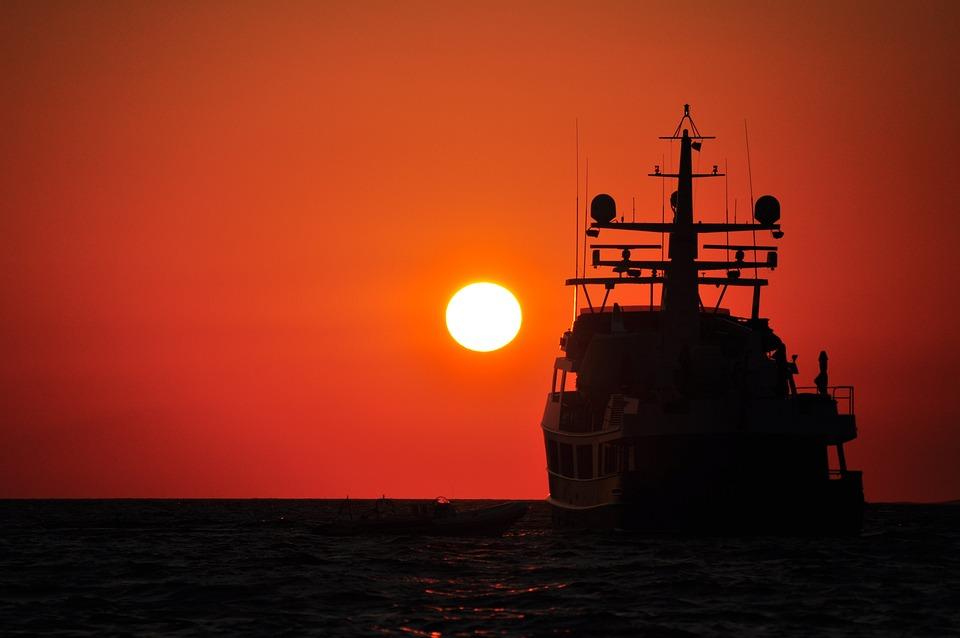 Sunset, Ship, Silhouette, Sun, Summer, Sea, Horizon