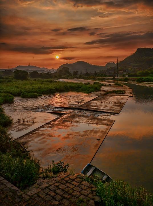 Japan, Sunset, Water, Ship, Sun, Evening, River