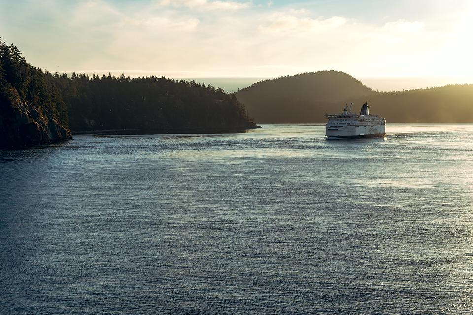 Ferry, Ship, Ocean, Pacific, Islands, Sunrise, Waves