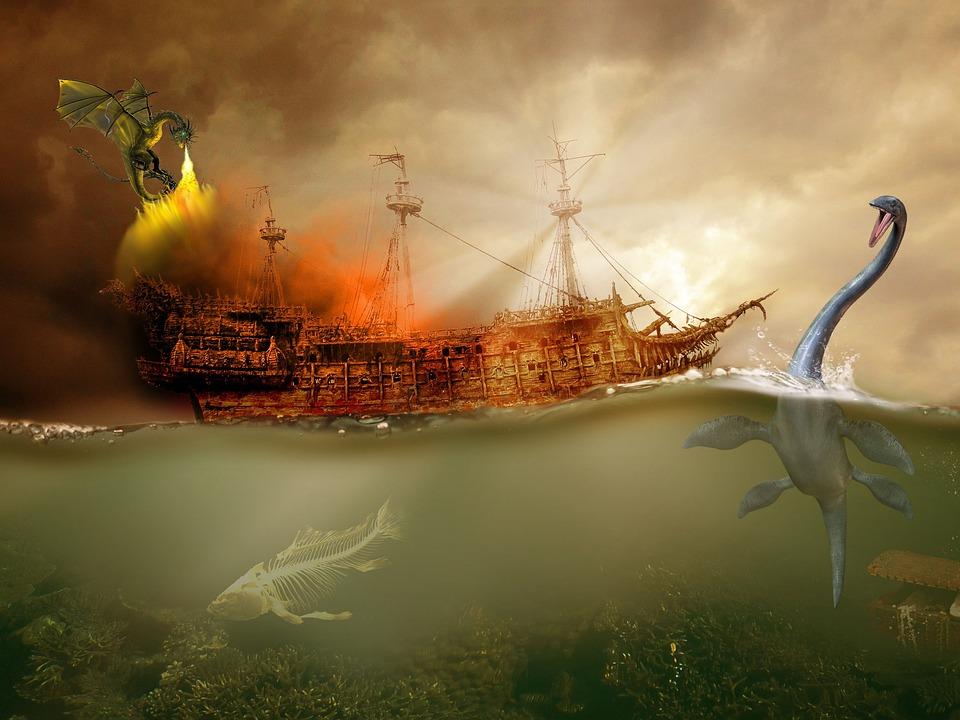 Ship, Sea, Dragon, Ocean, Water, Travel, Sail