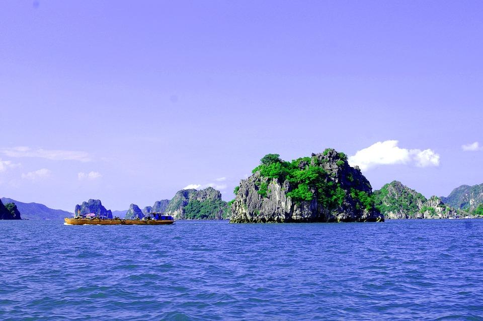 Ocean, Island, Karst, Ship, Vietnam, Blue Sky
