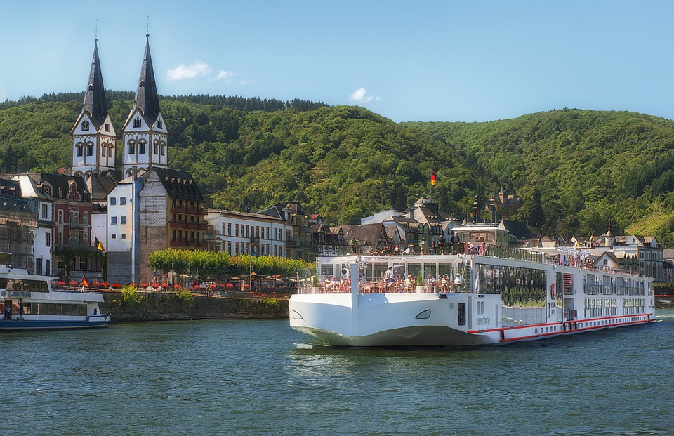 Rhine Valley, Germany, Ship, River, Water, Village