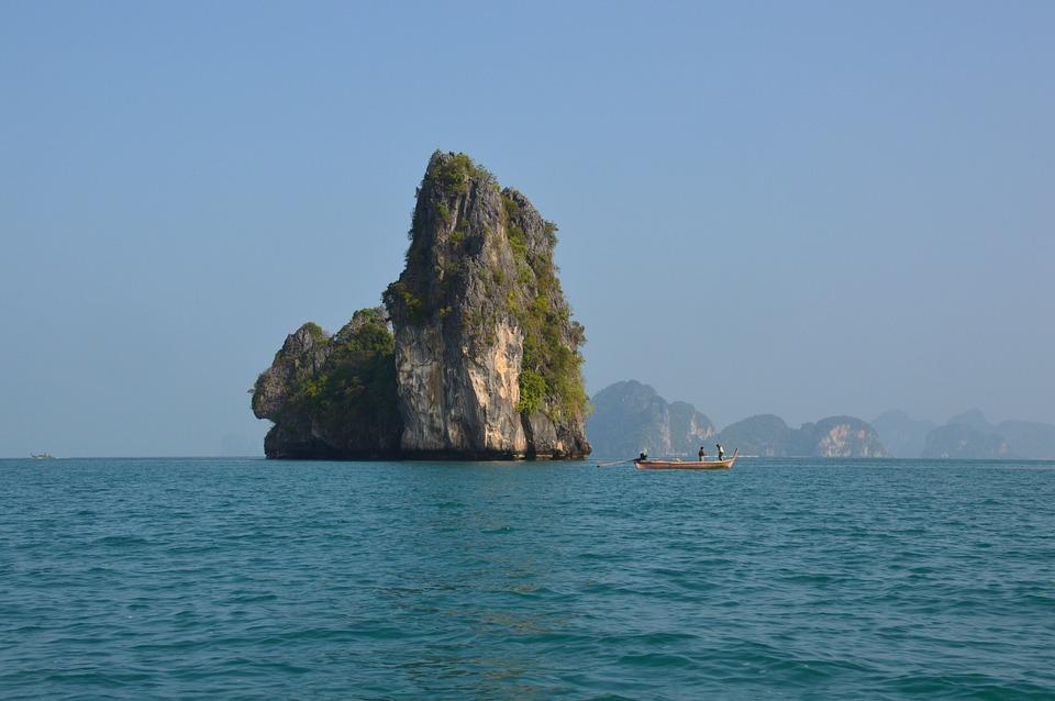 Island, Rock, Thailand, Sea, Ocean, Water, Blue, Ship
