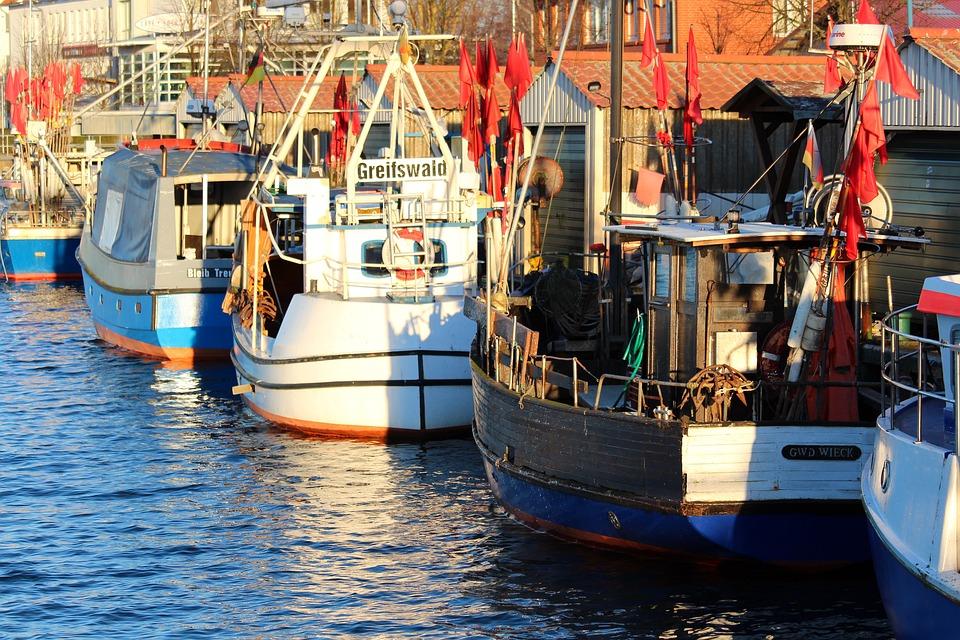 Greifswald, Wieck, Port, Water, Ship, Boat, Waters