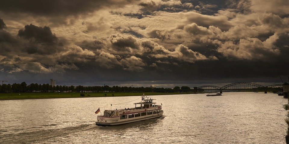 Rhine, Ship, Shipping, River, Cologne, Clouds