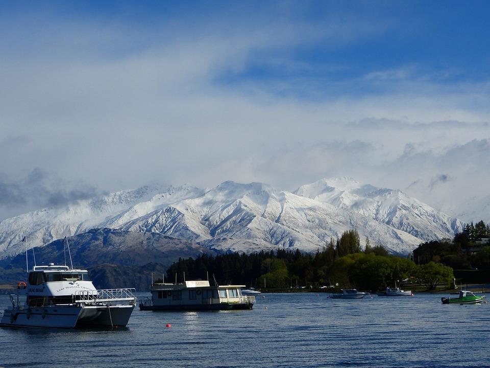 Mountains, Snow, Otago, New Zealand, Lake, Ships