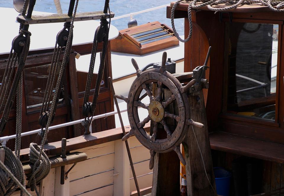 Ship, Sailing, Ship's Wheel, Boat, Sea, Sail, Water